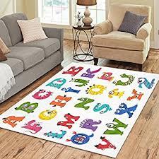 Alphabet Area Rug Amazon Com Interestprint Forest Animal Green Area Rugs Carpet 7 X