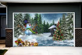 christmas tree garage door covers snowman 3d banners outside house
