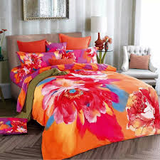 Orange Bed Sets Watercolor 3d Orange And Purple Bedding Set For