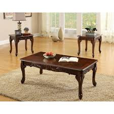3 piece dining room set furniture of america mariefey classic 3 piece coffee and end table
