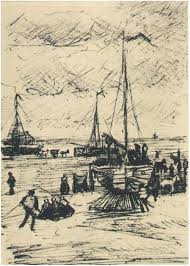 beach and boats by vincent van gogh 1953 letter sketches