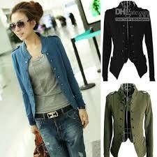 lady women jacket epaulet long sleeve stand up collar double