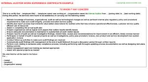 Sample Resume For Internal Auditor by Internal Audit Procedure Cover Letter Cover Letter Associate