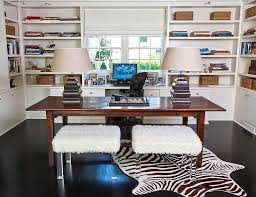 Home Office With Two Desks Home Office With Two Desks Transitional Den Library Office