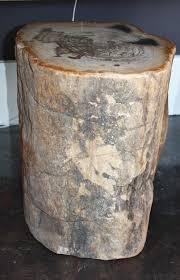 wood stool natural bark