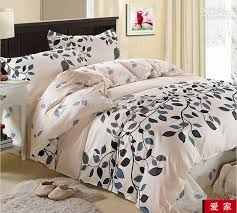 King Size Duvet Bedding Sets Blue Gray Black Leaf Flower Cotton Size Duvet Quilt