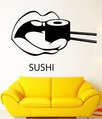 popular oriental wall murals decals buy cheap oriental wall murals new japanese sushi vinyl wall decal creative mouth eating sushi mural wall sticker japan oriental restaurant