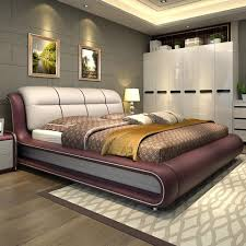 High Quality Bedroom Furniture Genuine Leather Bed ONLY With - High quality bedroom furniture