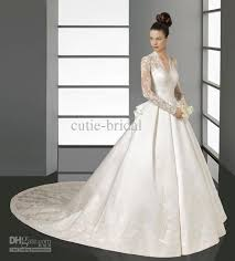lace top wedding dress discount v neck lace top sleeves wedding dress with cathedral