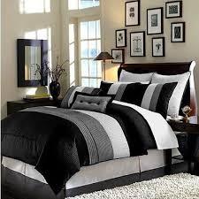 luxury king duvet cover 8 piece set black white grey stripe
