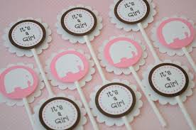 Pink And Brown Baby Shower Decorations 12 Cupcake Toppers Girls Baby Shower Elephant Theme Pink And