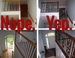 Iron Handrail For Stairs How To Install Iron Balusters View Along The Way
