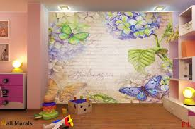 mural in art vintage style with flowers and butterflies wall mural in art vintage style with flowers and butterflies