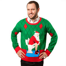 ugly christmas sweater toilet santa glowsource com