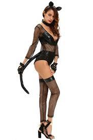 womens halloween cat costumes womens midnight cat costume deep v neck black halloween