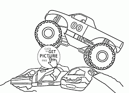 monster car jumps over cars coloring page for kids transportation