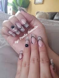 imagenes de uñas acrilicas con pedreria uñas acrilicas gris negro y blanco con pedreria nails by paola