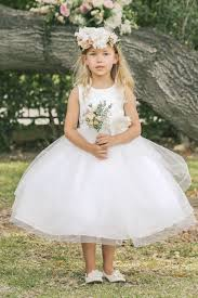 flower girl dress sleeveless satin flower girl dress with hair trim skirt