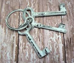 Key Home Decor Jailer Keys 3 On Ring Cast Iron Shabby Chic French Country Prop