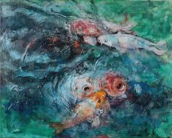 koi pond 7 on canvas acrylic painting 20 x16