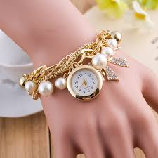 ladies pearl bracelet watches images Fashion casual wrist watch ladies gold chain with pearl strap jpg