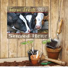 farm fresh milk served here cows sign country kitchen decor