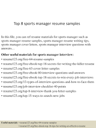 Sample Test Manager Resume by Top8sportsmanagerresumesamples 150521074742 Lva1 App6892 Thumbnail 4 Jpg Cb U003d1432194508