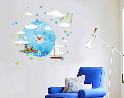 aliexpress buy blue sea sailing boat creative wall clock aliexpress buy blue sea sailing boat creative wall clock stickers decals living room bedroom removable murals from reliable