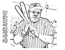 ruth the baseball legend in mlb coloring page color luna