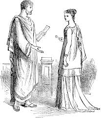 man and woman in roman clothing clipart etc