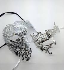 half skull mask halloween men woman lovers venetian masquerade couple mask set horrow half