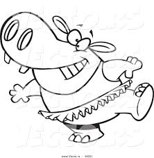 vector of a happy cartoon ballet hippo in a tutu coloring page