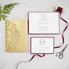 invitation pocket classic gold and burgundy pocket laser cut wedding invitations