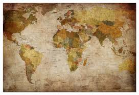Framed World Map by Canvas Print Home Office Decor Wall Art World Map Poster Painting