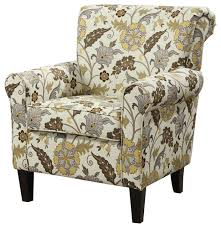 Floral Accent Chair Retro Styled Floral Accent Chair With Decorative Rolled Arms