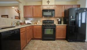 kitchen cute maple kitchen cabinets with black appliances