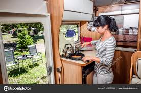 motor home interior cooking in cer motorhome interior stock photo