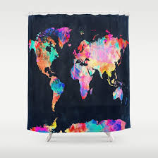 Shower Curtain World Map Shower Curtains Map Shower Curtain Rod