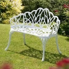 White Metal Outdoor Bench White Metal Garden Bench Perth 95cm White Cast Aluminium Bench