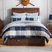 preston plaid reversible duvet cover twin navy