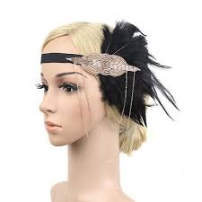 1920s headband gold and black 1920s headband with feathers decolish