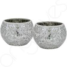 silver tea light holders of 2 silver sparkle mosaic cup tealight holder