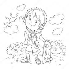 coloring page outline of boy in headphones with skateboard