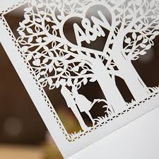 wedding invitations laser cut heart tree laser cut wedding invitation cards ewts008
