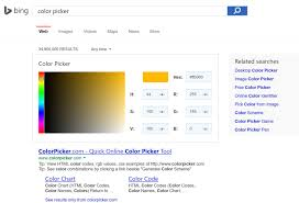 Microsoft Bing Now Offers Color Picker On Search Results Page Web Page Color Picker