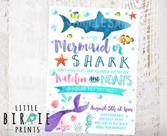 mermaids and sharks party sharks and mermaids invitation