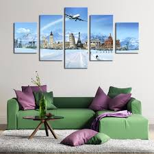 Eiffel Tower Room Decor Online Shop Wall Art Canvas Painting Living Room Decor 5 Pieces