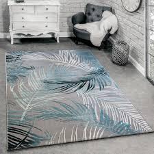 tappeto soggiorno tappeto di design moderno soggiorno 3d motivo palme in grigio