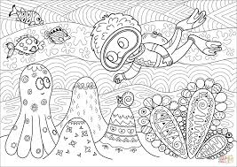 diver observing coral reef coloring page free printable coloring