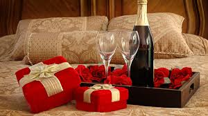 decorations valentine day gift champagne and flower in romantic